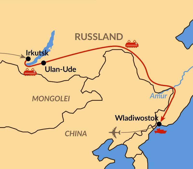 Karte: Transsib auf der ganzen Länge – bis Wladiwostok