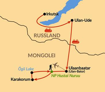 Karte: Vom Baikalsee ins Land der Nomaden, die Mongolei