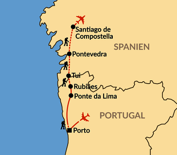 Karte: Caminho Português – Auf dem Jakobsweg von Portugal nach Santiago de Compostela