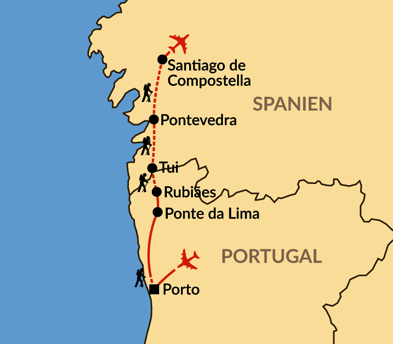 Karte: Caminho Português – 137 km Jakobsweg von Portugal nach Santiago de Compostela