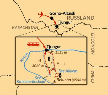 Karte: Altai – durch die goldenen Berge ins Belucha-Gebiet