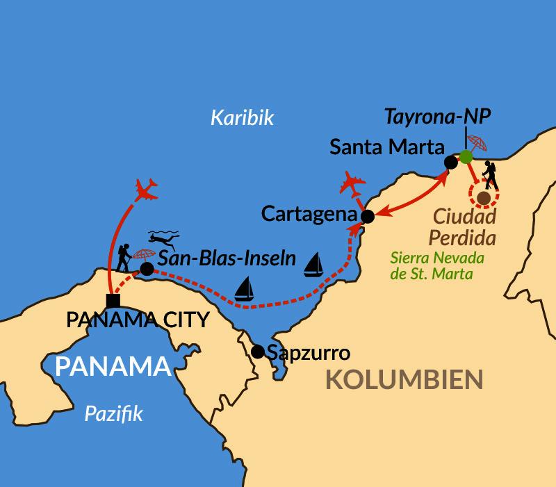 Karte: Vom Stillen Ozean in die Karibik