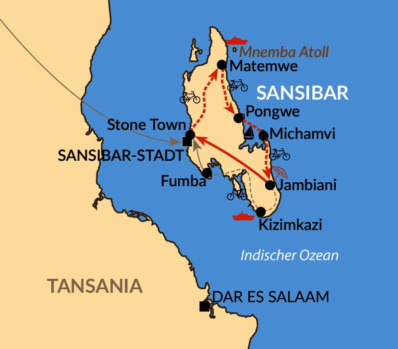 Karte: Reisebaustein oder Gruppenreise: Mit dem Fahrrad zum Strand – Inselumrundung auf Sansibar