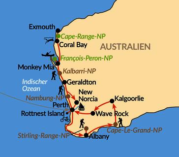 Karte: Westaustralien – aktiv zwischen Korallenküste und Baumriesen
