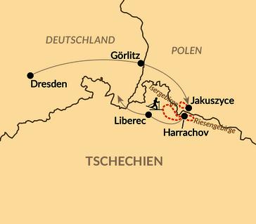 Karte: Skilanglaufcamp im Isergebirge