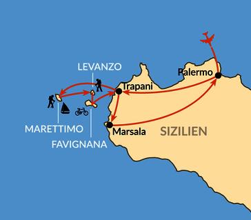 Karte: Inselhüpfen vor Westsizilien