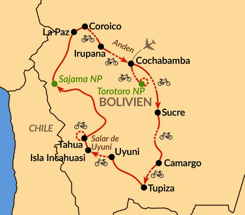 Karte: Bike-Tour durch die Anden