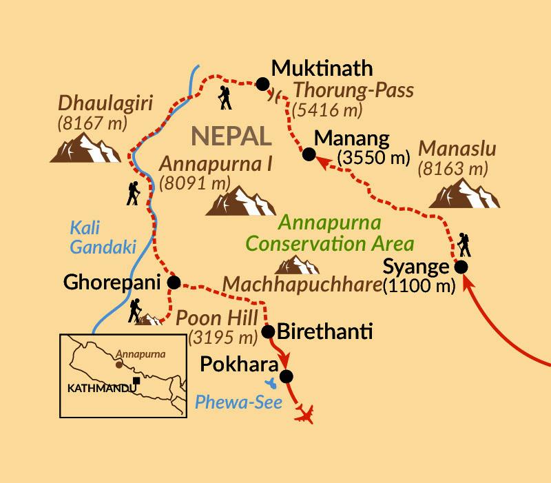 Karte: Große Annapurna-Umrundung