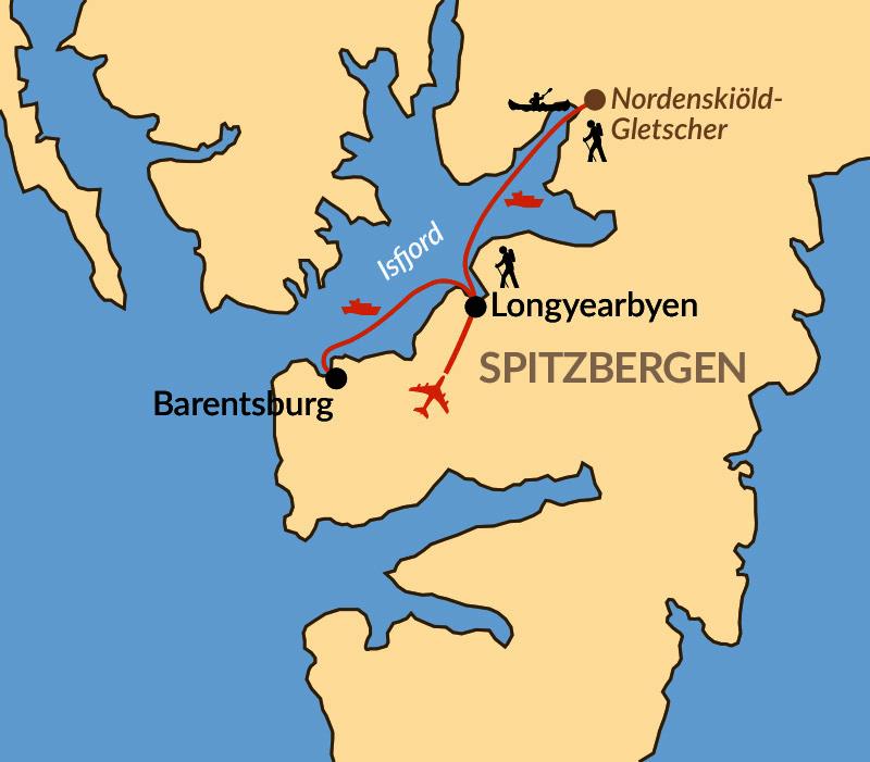 Karte: Spitzbergen  - Abenteuer Arktis