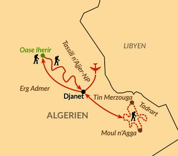 Karte: Sahara – Wüstenwunder Tassili n'Ajjer, Oase Iherir und Tadrart