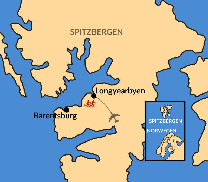 Karte: Spitzbergen/Svalbard Skimarathon