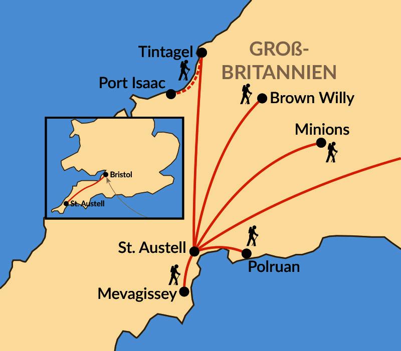 Karte: Cornwall - aktiv erleben