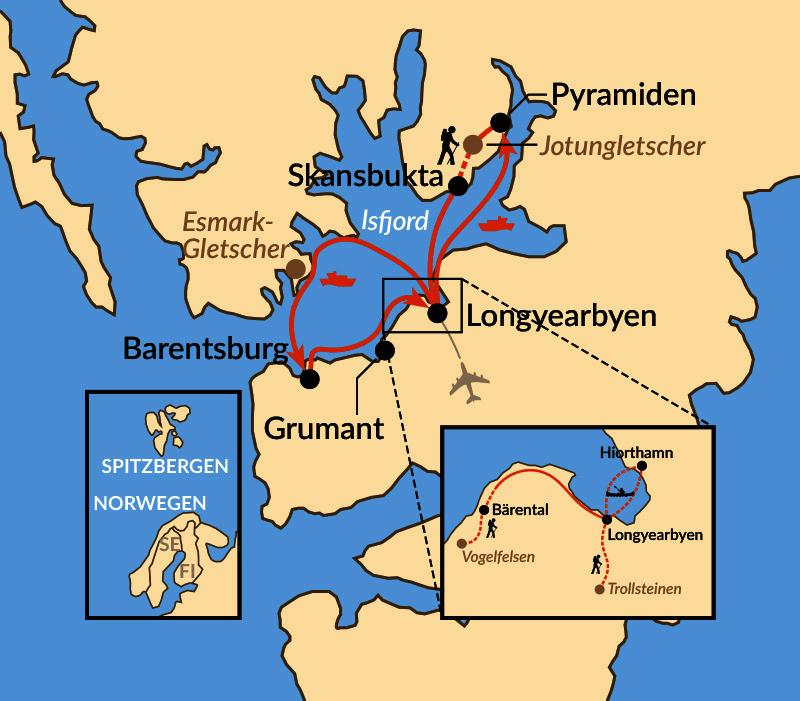 Karte: Aktiv auf Spitzbergen