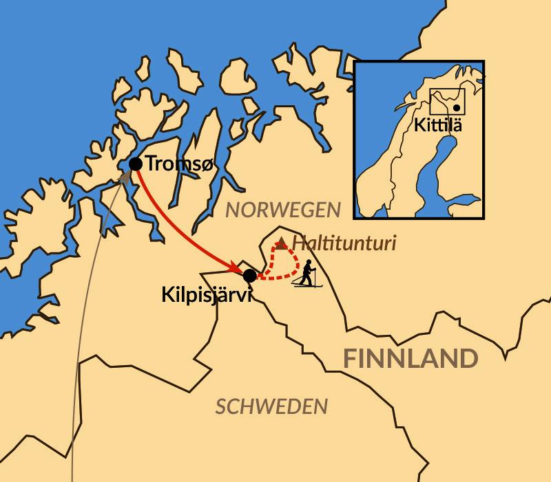 Karte: Mit Ski auf das Dach von Finnland