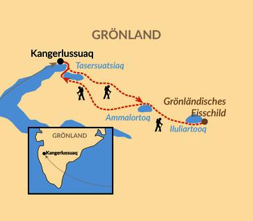 Karte: Wildnistrekking in Westgrönland