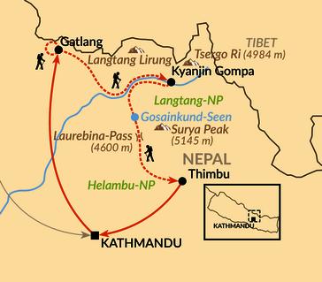Karte: Langtang Himal und Helambu mit Tamang Heritage Trail