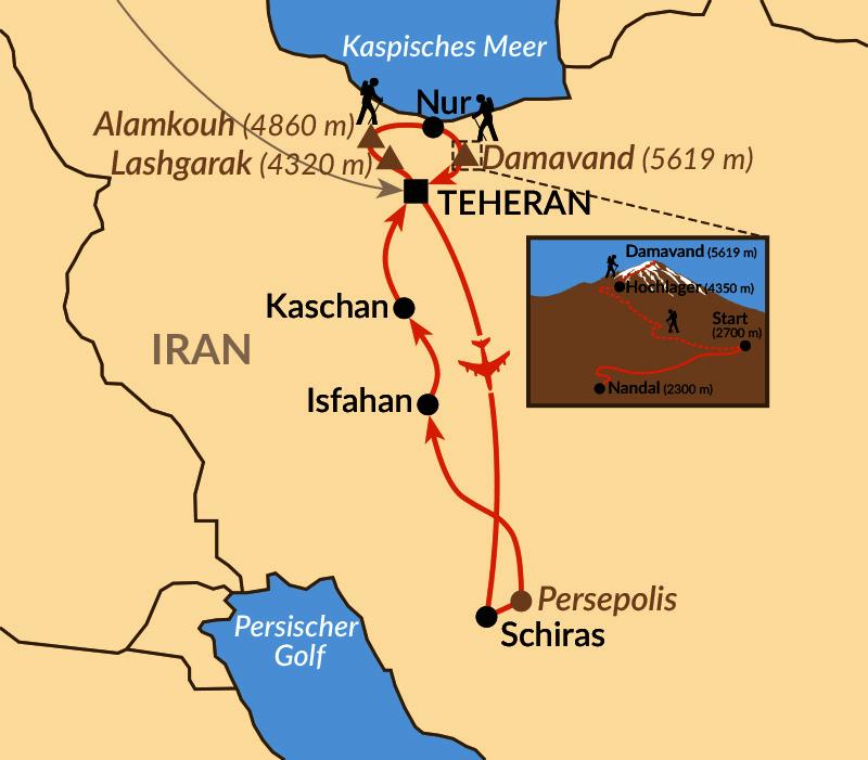 Karte: Damavand: Nordost-Besteigung