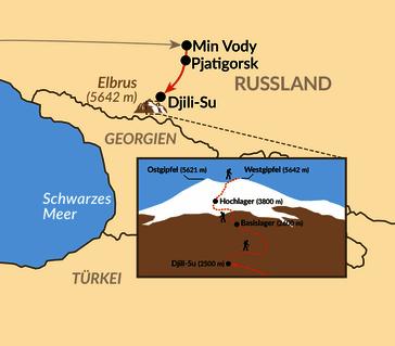 Karte: Kaukasus – Elbrus: Auf den Spuren der Erstbesteiger über die Nordroute