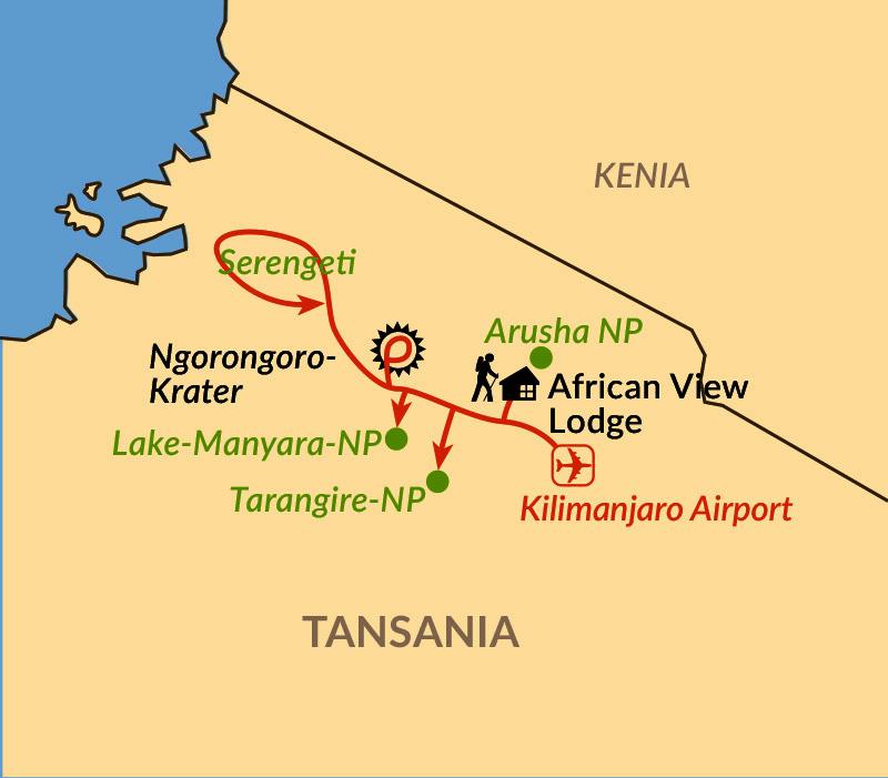 Karte: Auf Ostafrikas berühmtester Safari-Route in besonders kleiner Reisegruppe