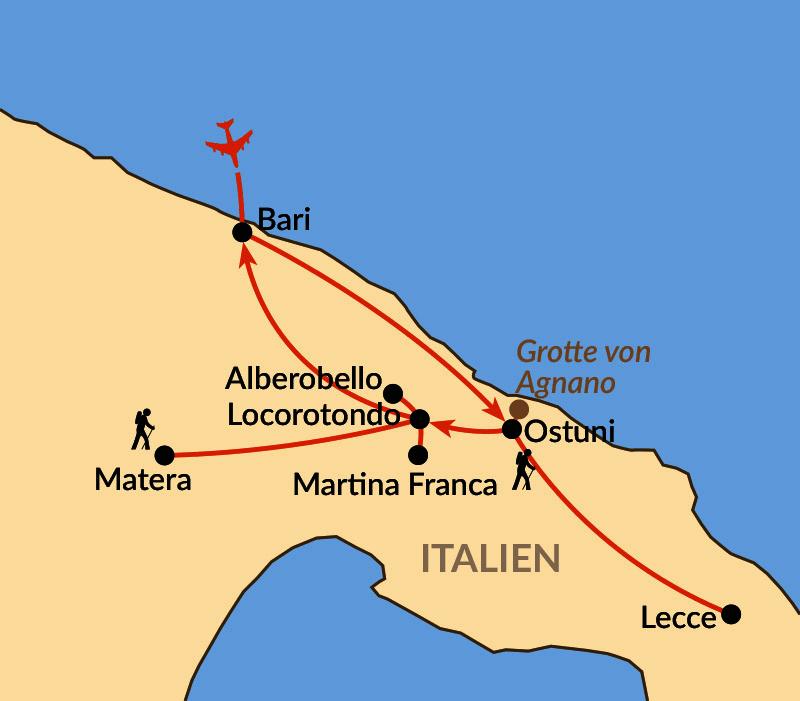Karte: Genussvoll wandern in Apulien