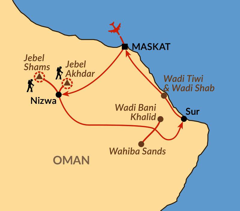 Karte: Durch das Hajar-Gebirge, Wüste und Wadis