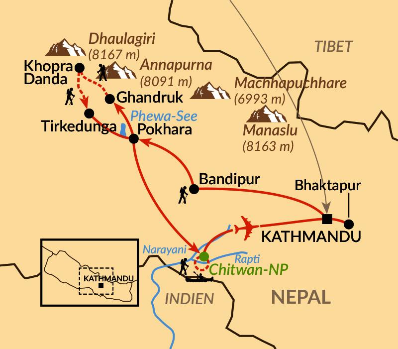 Karte: Nepals Höhepunkte und seltene Aussichten