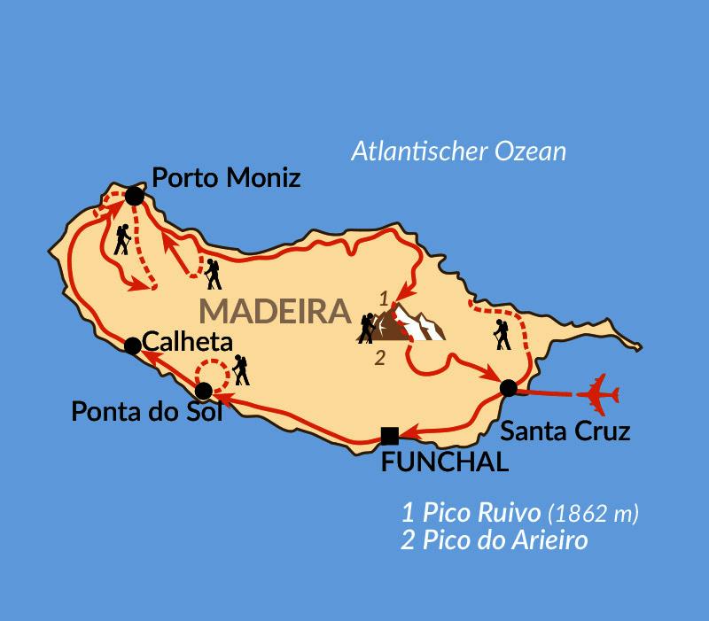 Karte: Verlängerungsmöglichkeiten auf Madeira