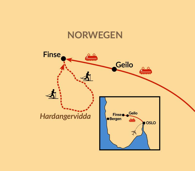 Karte: Fjellskitour durch die Hardangervidda