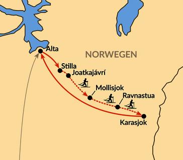 Karte: Fjellskitour durch die Finnmarksvidda
