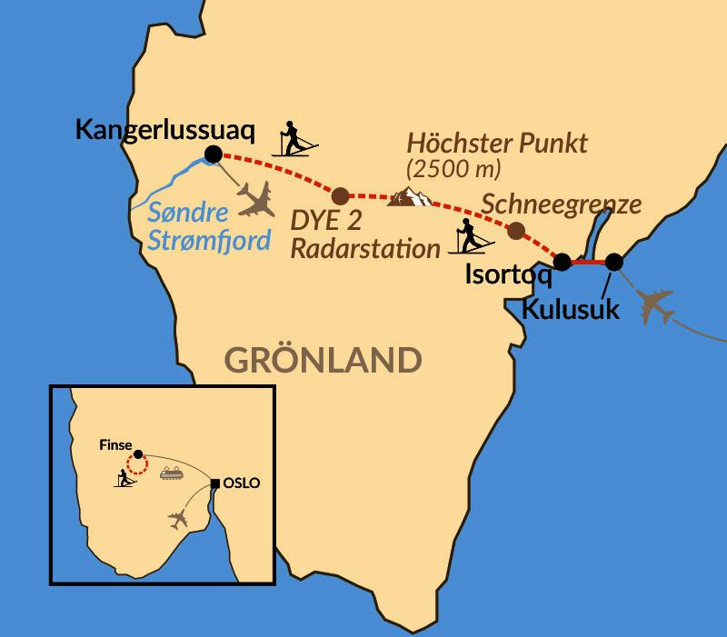 Karte: Grönlanddurchquerung auf Ski