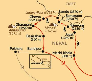 Karte: Rund um den Manaslu
