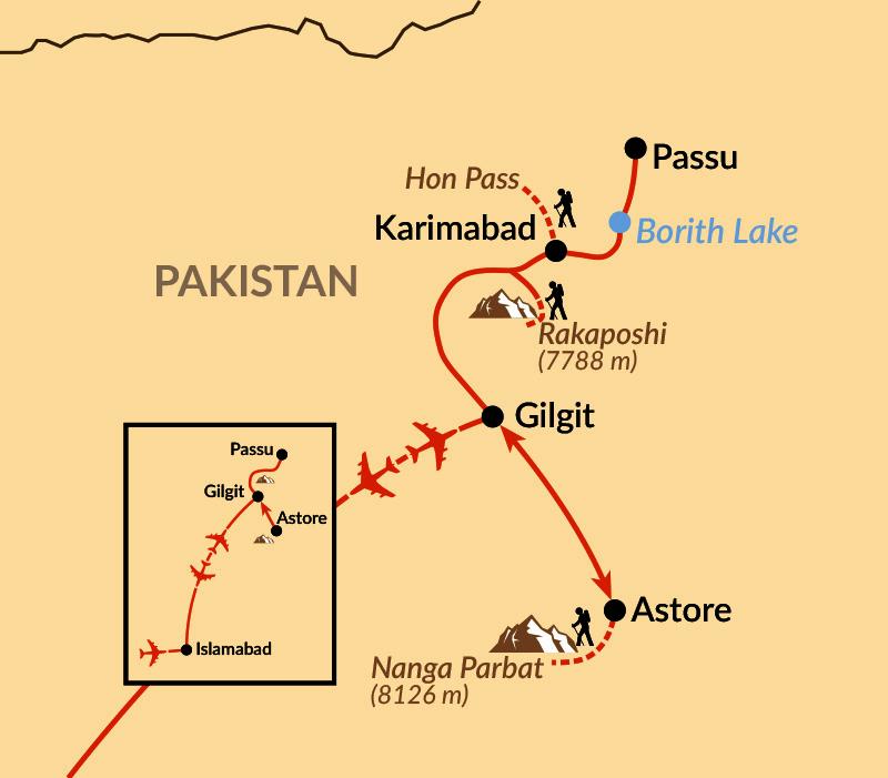 Karte: Im Thronsaal der Berggötter –  vom Nanga Parbat nach Hunza