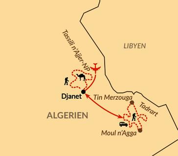 Karte: Sahara – Wüstentrekking durch das Tassili n'Ajjer und Tassili Tadrart