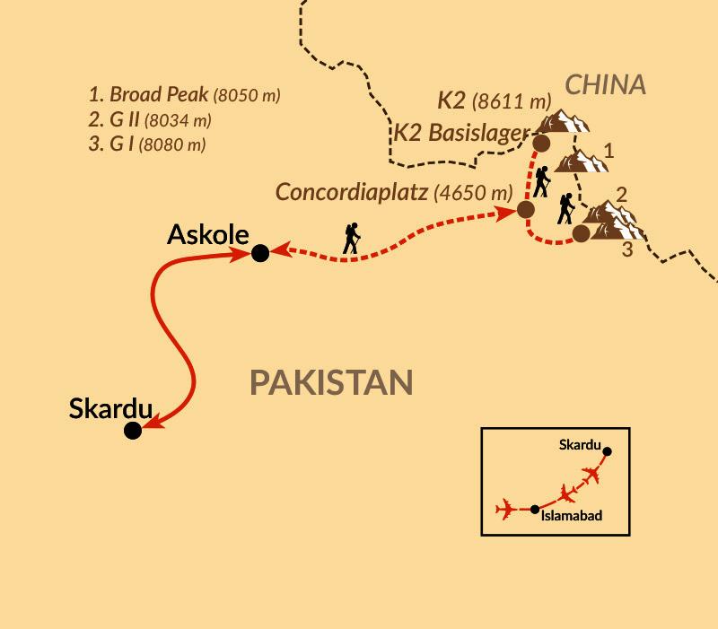 Karte: Ins Herz des Karakorum zum K2 Basecamp