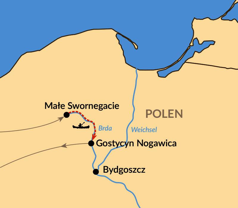 Karte: Paddeln auf der Brda