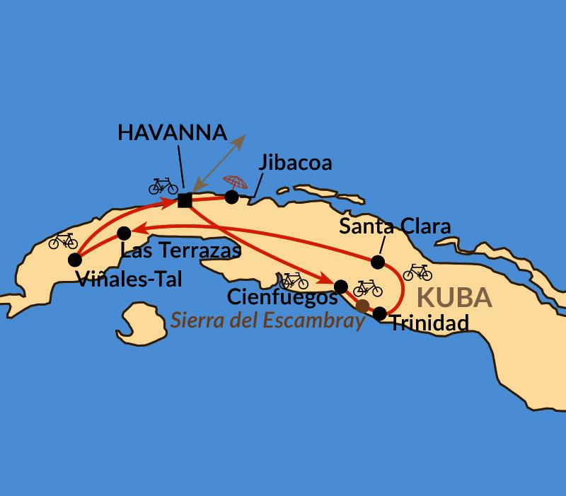 Karte: Kuba by bike