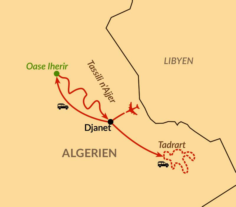 Karte: Algerien - Blaue Stunde in der goldenen Wüste