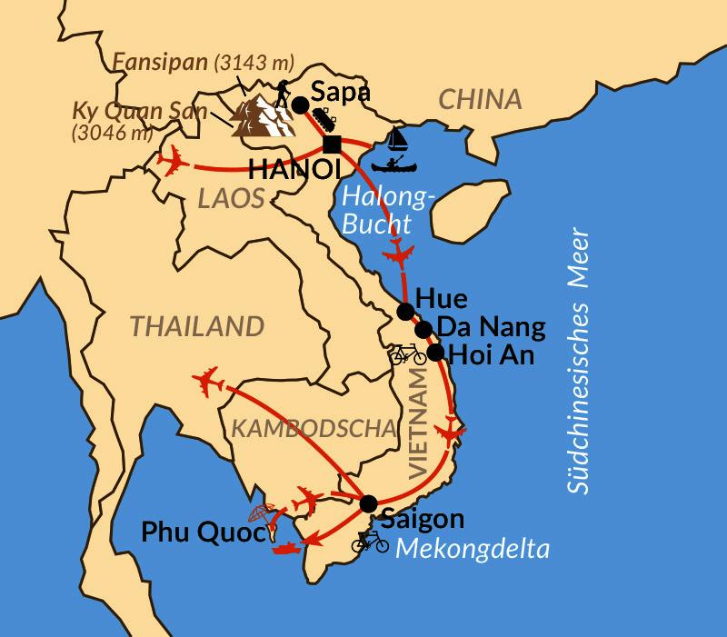 Karte: Vietnam aktiv & intensiv von Norden nach Süden
