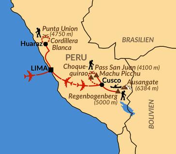 Karte: Auf verborgenen Inkapfaden über Choquequirao bis Machu Picchu