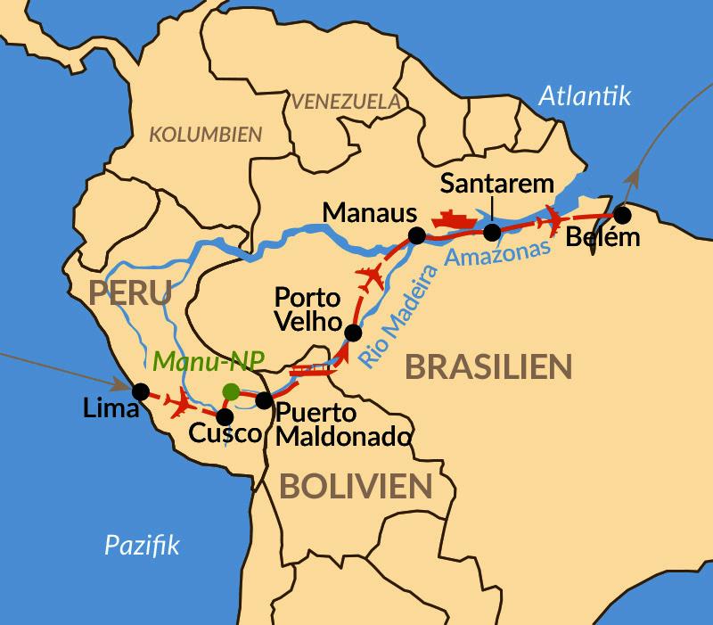 Karte: Mythos Amazonien