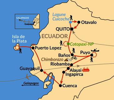 Karte: Entlang der Straße der Vulkane von den Anden zum Pazifik