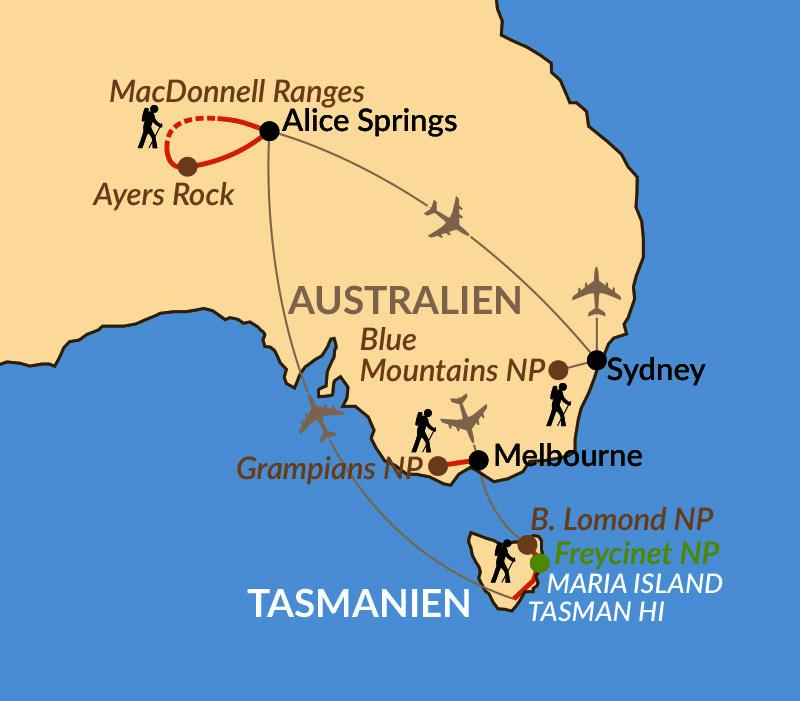 Karte: Sonderreise: Wanderhöhepunkte von Tasmanien bis ins Outback