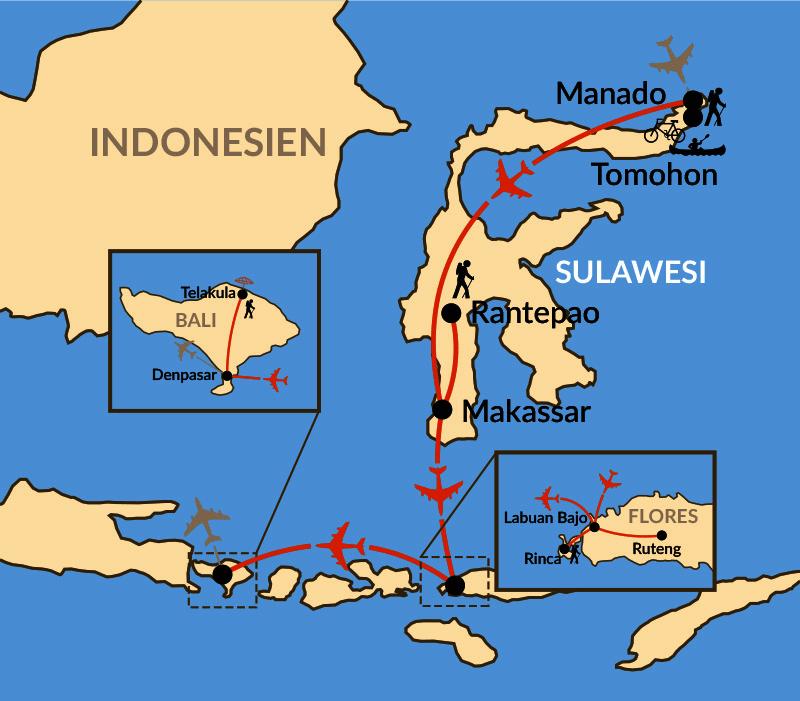 Karte: Sulawesi & Flores - zwischen Vulkanen und Komodowaranen