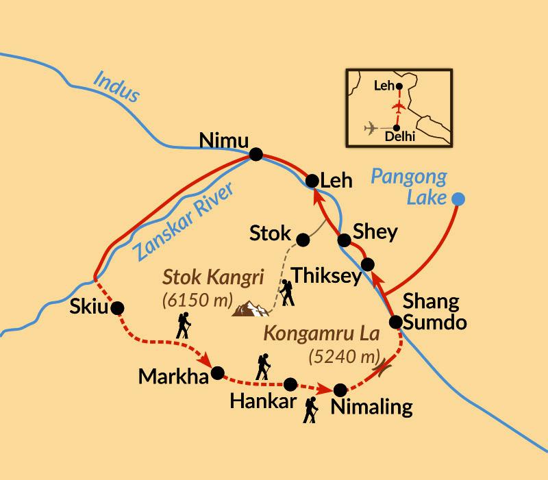 Karte: Vom Markha Valley zum Pangong Lake