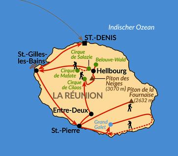 Karte: Genusswandern auf La Réunion