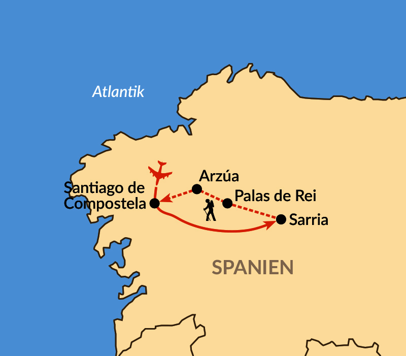 Karte: Camino Francés – die letzten 115 km des berühmtesten Jakobswegs