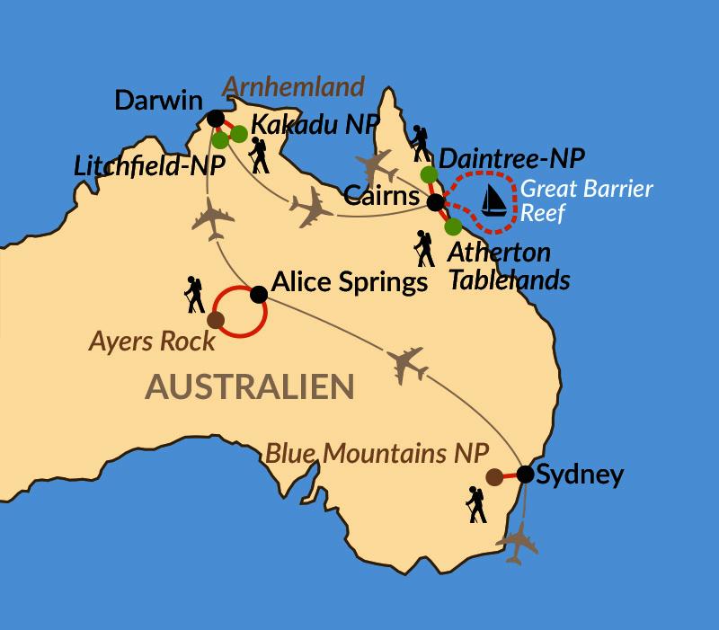 Karte: Mit Didgeridoo und Boomerang – Naturwunder und Kultur der Aborigines