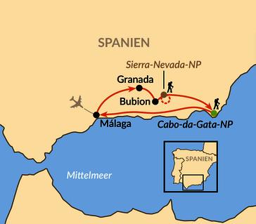 Karte: Andalusien – Spaniens reizvoller Süden