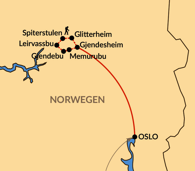Karte: Hüttentrekking im Nationalpark Jotunheimen