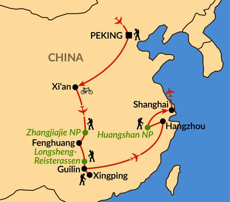 Karte: Chinas pulsierende Metropolen und magische Berge